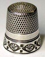 Antique Simons Bros Sterling Silver Thimble  Chased Rosettes In Diamonds  C1880s