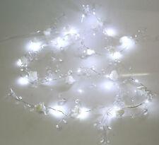 2m LED Wired White Rose & Crystal Garland Spray Cake Wedding Deocoration CRAFT