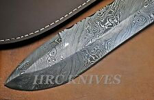 "DB6 ~ HUGE 12.5"" CUSTOM HRC DAMASCUS HUNTING KNIFE W/ ROSE WOOD & SHEATH - USA"