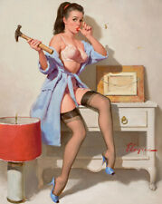 "1960s Vintage Pin-up Girl Art ""The Wrong Nail"" by Gil Elvgren Cheesecake Print"