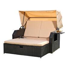 Strandkorb Rattan Schwarz Sonneninsel Gartenliege Rattanbett Sonnenliege Sofa ☀️
