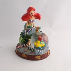 "Disney Little Mermaid Ariel W/Flounder 2009  - 6"" Snow Globe Figurine"