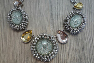 Betsey Johnson Stargazer Statement Necklace Glittering Cabochons, Faceted Stones