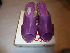 160 A16 s.Oliver Damen Pantolette Gr.40 lila Leder Absatz mit Kork 9 cm