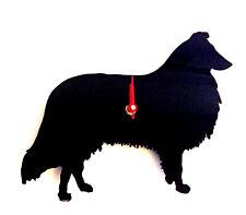 Rough Collie Dog Clock in Black