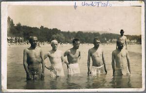 #141 Beefcake bulge handsome men gay interest RPPC vtg real photo postcard 1920s