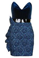 NEW TOPSHOP Velvet & Jacquard Minidress DRESS Size UK 10 US 6 EURO 38 $140 BLUE