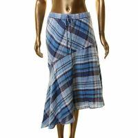 LAUREN RALPH LAUREN NEW Women's Plaid Asymmetrical Peasant, Boho Skirt TEDO