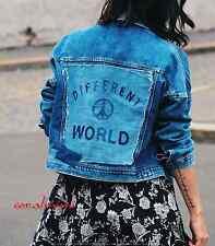 Zara nuovo denim Blu Logo Stile Motociclista Retro diverso MONDO giaccone taglia S