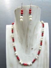 """16"""" Coral Necklace Round Beads and Pearl with Free Earrings US Seller!!!"""