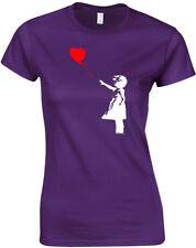 Banksy Heart Balloon Ladies Printed T-Shirt Short Sleeve Women Tee Shirts Top