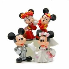 "Disney Mickey, Minnie Mouse Wedding Cake Topper (Set Of 4pc) 2- 1/4"" Tall"