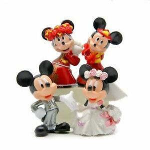 """Disney Mickey, Minnie Mouse Wedding Cake Topper (Set Of 4pc) 2- 1/4"""" Tall"""