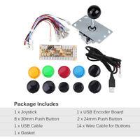 KIT Joystick Juego Arcade + 10luz botones + USB Controlador DIY Encoder