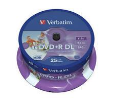 Genuine Verbatim Blank DVD R DL 8.5gb 25pk White Inkjet 8x 43667 MKM 003