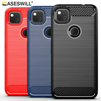 For Google Pixel 5 4a 5G Case Ultra Slim Carbon Fiber Flexible TPU Phone Cover