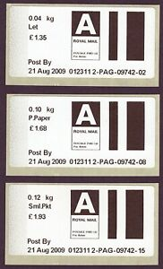 2009 early Post & Go type stamps. Airmail Letter, Small Packet & Printed Paper.