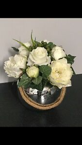 White Silk Rose any Peony classic table arrangement with mirrored vase