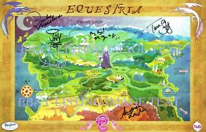 MY LITTLE PONY CAST SIGNED AUTOGRAPH EQUESTRIA MAP 8X10 RPNT PHOTO TARA STRONG +