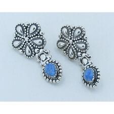 QVC 925 Sterling Silver Natural Blue Denim Lapis Flower Dangle Post Earrings