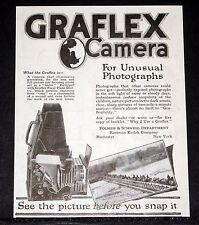 1918 OLD MAGAZINE PRINT AD, KODAK GRAFLEX CAMERAS, FOR UNUSUAL PHOTOGRAPHS!