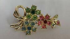 flower brooch Vintage rhinestone