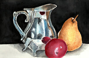 Aceo Silver pitcher & fruit reproduction print baseball card size