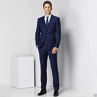 Men Blue Designer Wedding Grooms Tuxedo Dinner Casual Suit (Jacket+Vest+Pants)