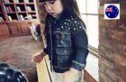 Girls Children Kids Children Fashion Rivet Denim Jean Rock Jacket Coat