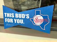 "TEXAS RANGERS BASEBALL BUDWEISER BUD LIGHT JERSEY LV CAP METAL TIM SIGN 14""x7"""