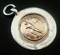 Silver Gold CRICKET Pocket Watch Fob Medal, Charles Usher, Birmingham 1929