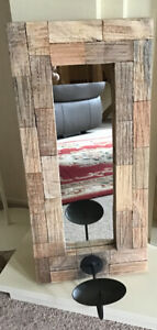 RUSTIC WOODEN FRAMED MIRRORED WALL SCONCE PILLAR CANDLE HOLDER