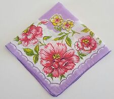 Handkerchief Purple Floral Pink and Yellow Flowers Vintage Cotton Hankie
