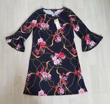 LIPSY size 8 black FLORAL CHAIN PRINT DRESS red SHIFT gold MINI flute FRILL