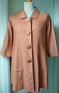 Edina Ronay Coat Authentic Designer Ladies Womens Size 12 Copper Linen Mix ExCon