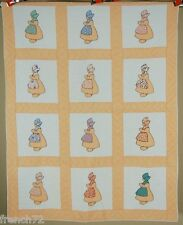 WELL QUILTED Vintage 30's Sunbonnet Sue Dutch Girl Applique Antique Crib Quilt!