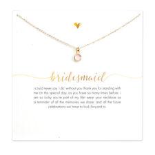 18K Gold Plated Wedding Bridal Bridesmaid Faux Rose Quartz Gemstone Necklace