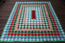 Vtg Multicolor Diamond Hand Stitched Quilt Blanket Around the World 66x77.5