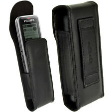 Black Genuine Leather Case Cover for Philips VoiceTracer Digital Voice Recorder
