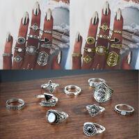 10pcs/Set Vintage Women Gold Silver Boho Midi Finger Knuckle Rings Jewelry Gift