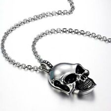 Fashion Mens Punk Hip Hop Stainless Steel Skull Head Pendant Chain Necklace