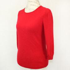 Talbots 2-Ply 100% Cashmere Knit Soft Warm Crew Neck Red Sweater Petite Medium