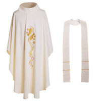 Holy Catholic Priest Chasuble Vicar Robe Church Clergy Vestments Roll-Collar