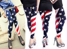 Womens Stars and Stripes Print American Flag Patriotic Legging Pants