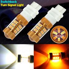 2x 3157 4157NA 54SMD LED Switchback White Yellow Turn Signal Light w/ Quartz DRL