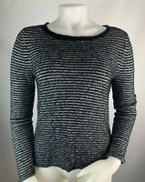 Eileen Fisher XS Women's Sweater Crew Neck Pullover Cotton Knit Blouse Black