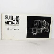Usado Sunpak Auto 321 Electrónico Flash Manual Instrucciones Usuario Guía Inglés