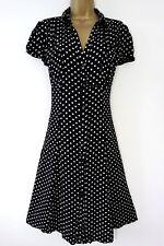 F&F SIZE 16 30s 40s STYLE RETRO WW2 LANDGIRL TEA DRESS BLACK SPOTS US 12 EU 44