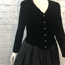 Vtg 80s Prom Dress Black Velvet Plaza South Crinkle Rhinestone Buttons Goth