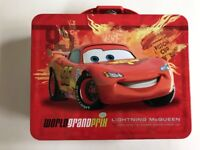 Tin Metal Lunch Snack Toy Box Embossed Disney Cars McQueen Red Fire NEW